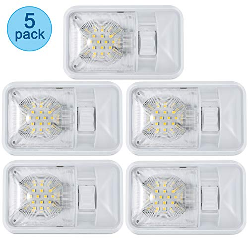 Miady 5 Pack RV LED Ceiling Dome Light Fixture with ON//Off Switch RV Interior Light for Car//RV//Trailer//Camper//Boat DC 10-24V White 560 Lumens 4000-4500K 48X2835SMD