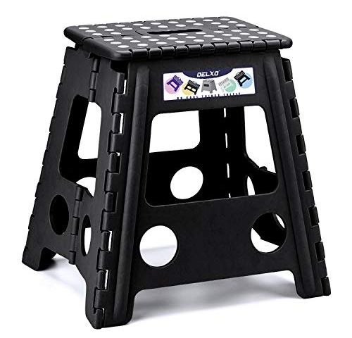 Holds Up To 350 Lb Sturdy Safe 9 Inch Footstool For Adults Or Kids Fold Stools For Kitchen Toilet Camping Ect Patented Locked Device Black New 9 Inch Usmascot Non Slip Folding Step Stool