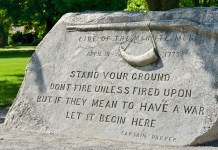 A monument dedicated to the Minute Men of the American Revolution in Concord, Massachusetts.