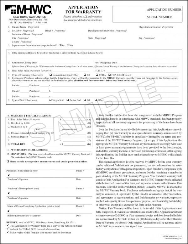 MHWC_Sample_Application_for_Warranty_946S-315 - RWC Warranty