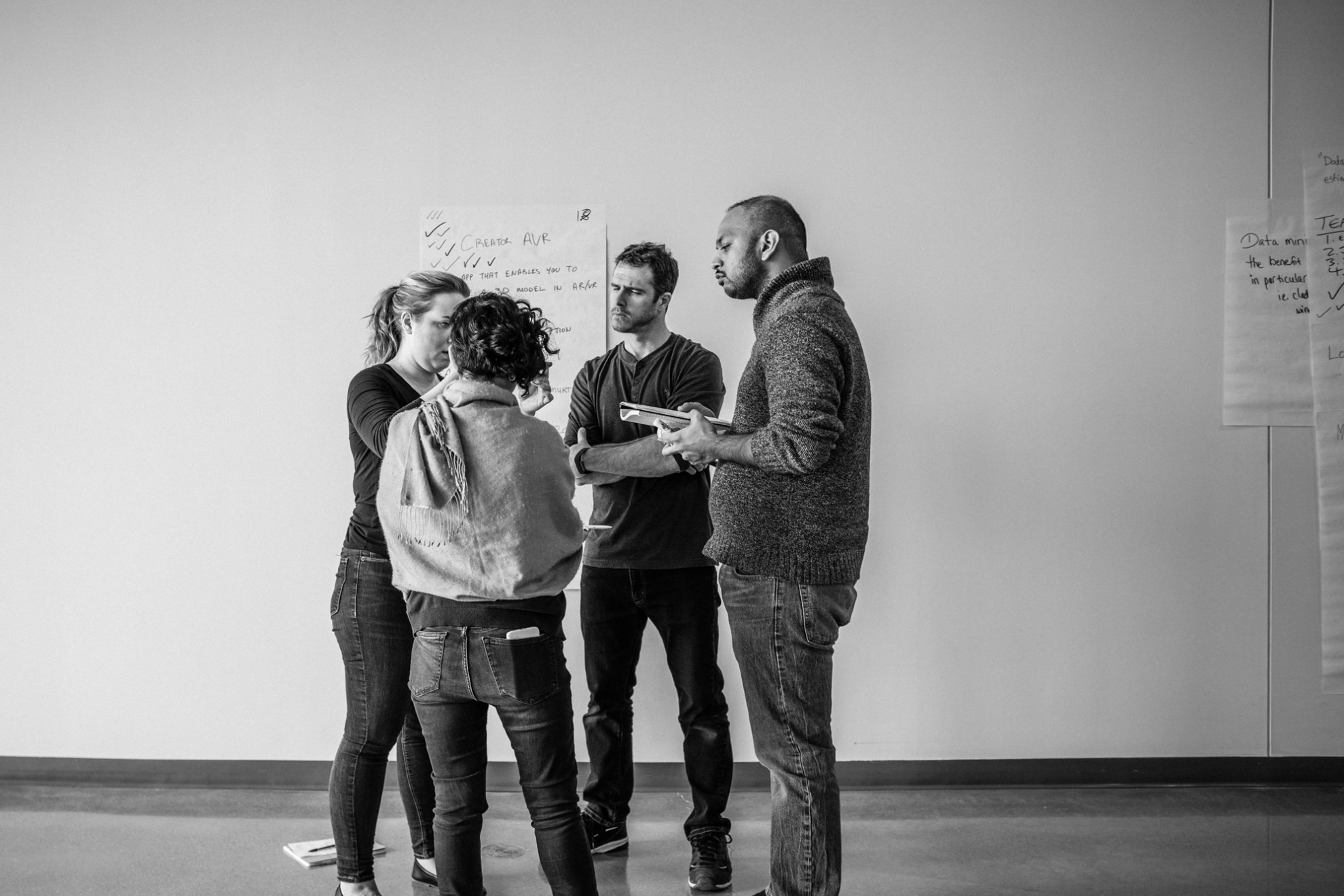 Group of people discussing an idea