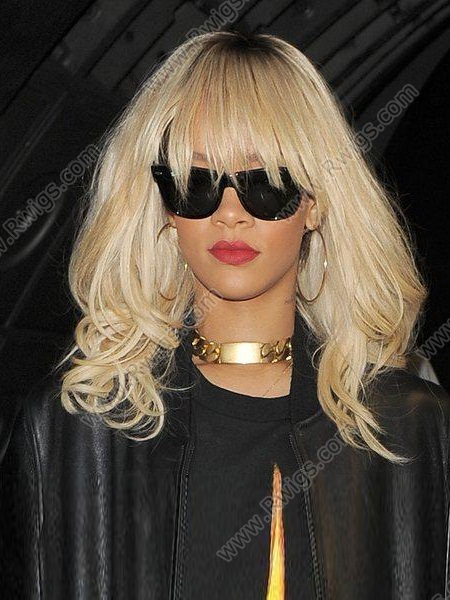 Custom Rihanna Hairstyle T Color Golden Blonde Wavy With