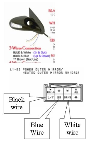 Broken side view mirror, need help with wiring diagram