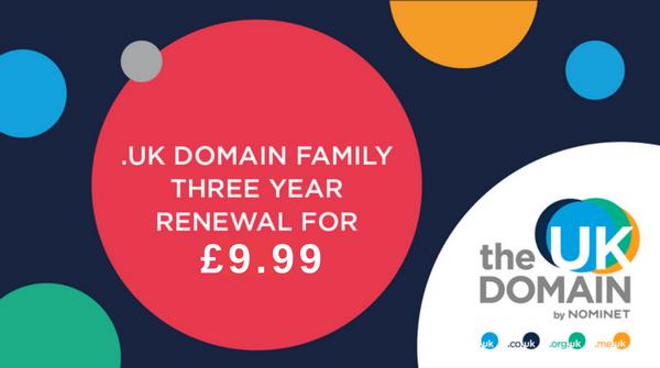 .UK domain 3 year renewal for £9.99 (1 year free)