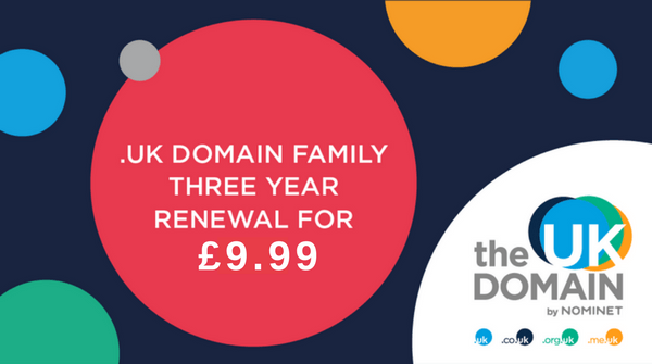 .UK domain 3 year renewal for £9.99 (1 year free)