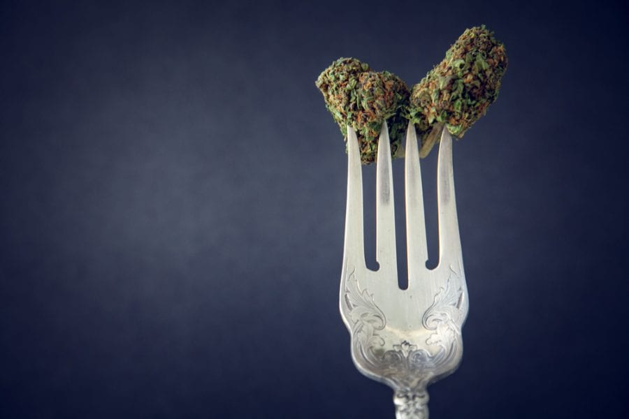 Raw cannabis bud on a fork close up