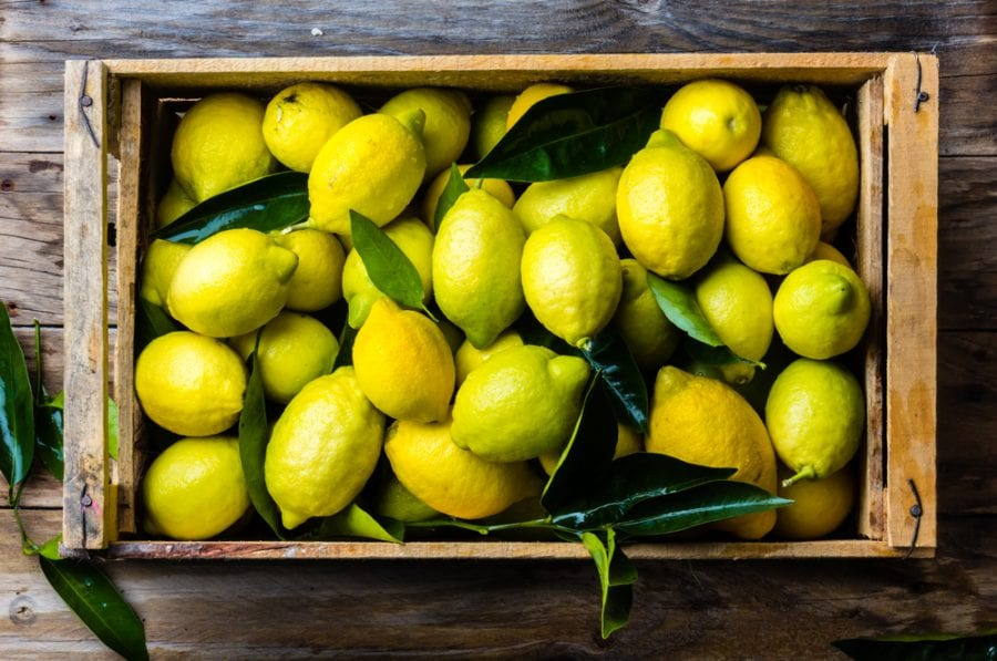 Wooden Box Filled with Lemons