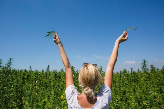 woman happy at hemp field