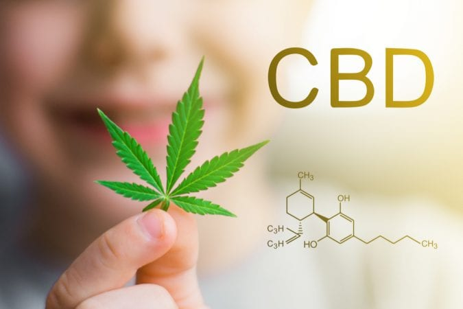CBD chemical formula beside a woman blurred holding up cannabis leaf