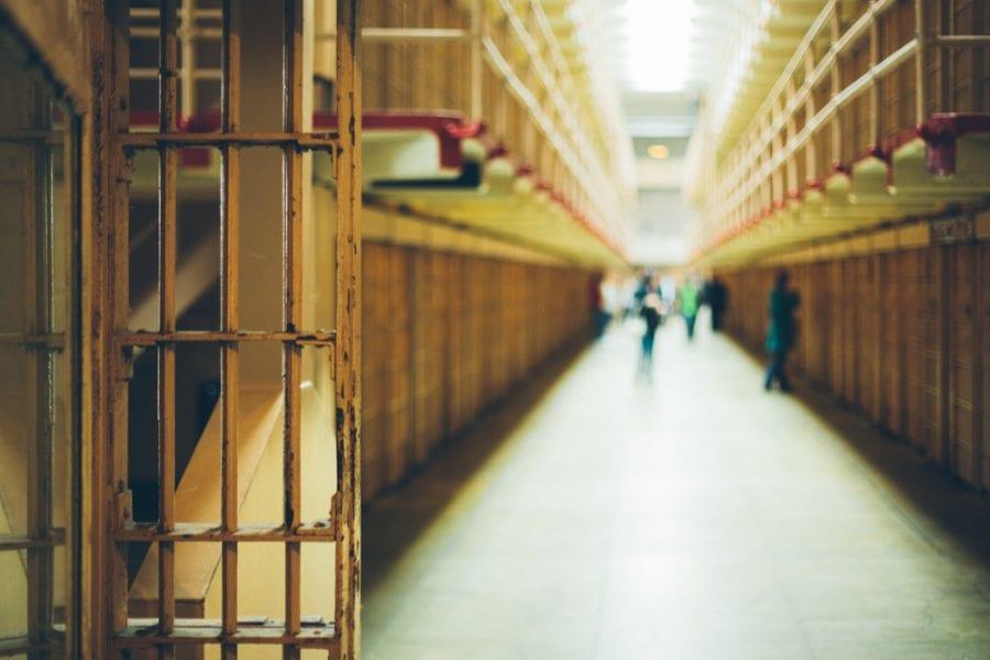 Prison hallway blurred
