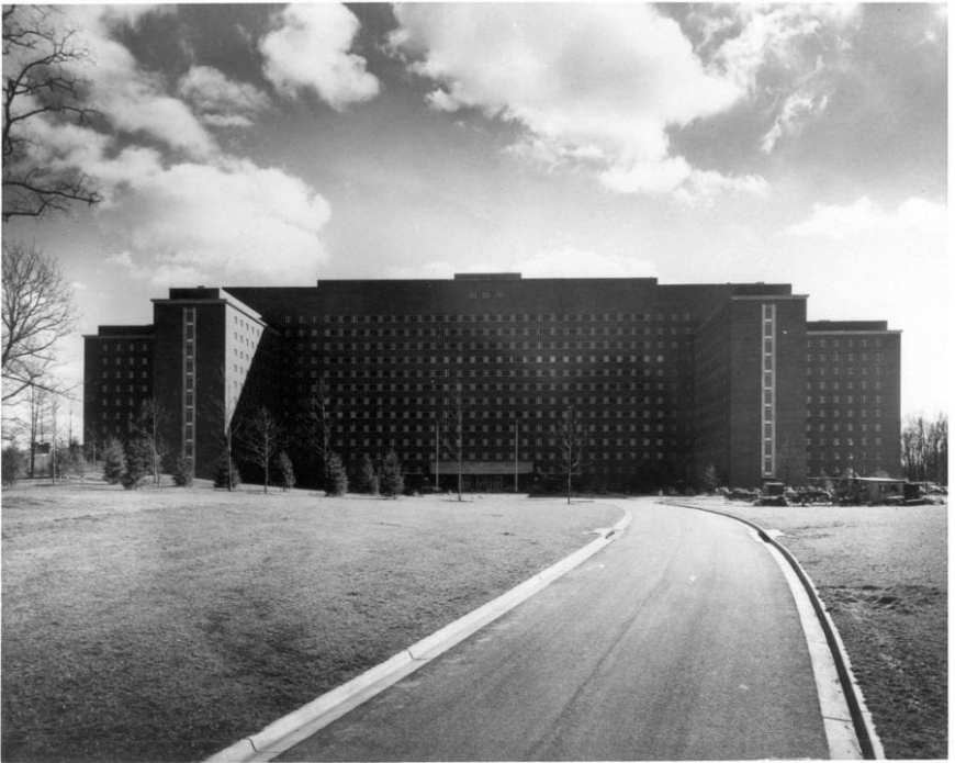 NIH Clinical Building Black and White
