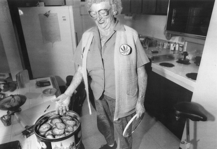 Brownie Mary with Brownies in her Kitchen