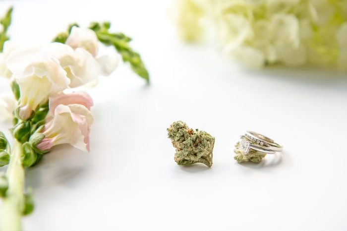 wedding ring with cannabis