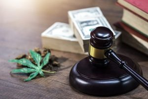 Gavel, cash, and cannabis