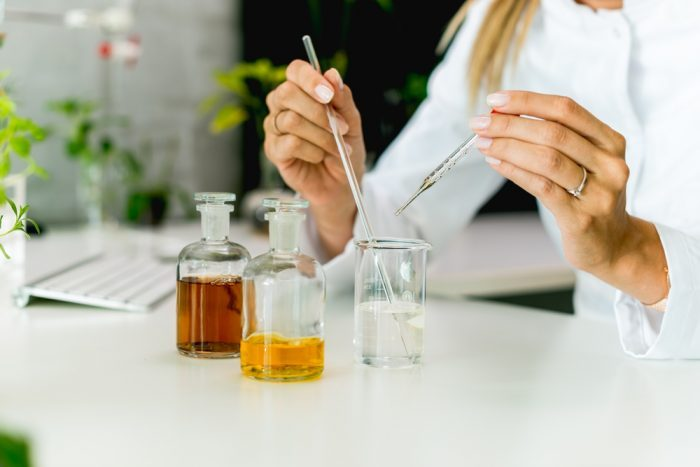 scientist making hemp extract