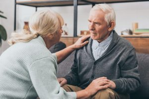 aggression in dementia causing this older couple to hold one another