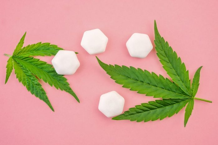cbd gum with cannabis leaves