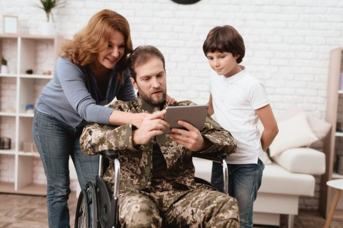veterans and cannabis reptresented by wounded veteran with wife and son