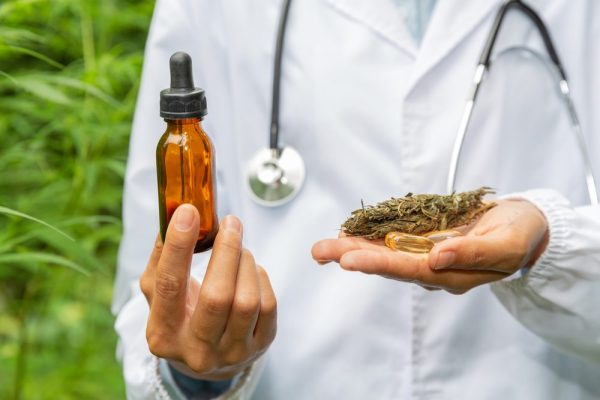 cannabis friendly doctor pictured with cannabis oil in one hand and bud in the other