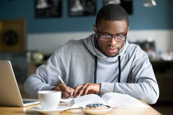 does cannabis lower IQ? Thankfully, for this smart young african americna man studying, no