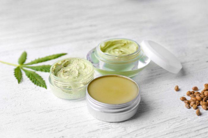 hemp cosmetics in a small metal jar