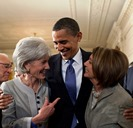 Secretary of Health and Human Services Kathleen Sebelius, President Barack Obama, Representative Nancy Pelosi