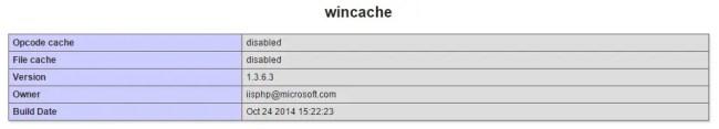 Wincache configuration in PHPInfo