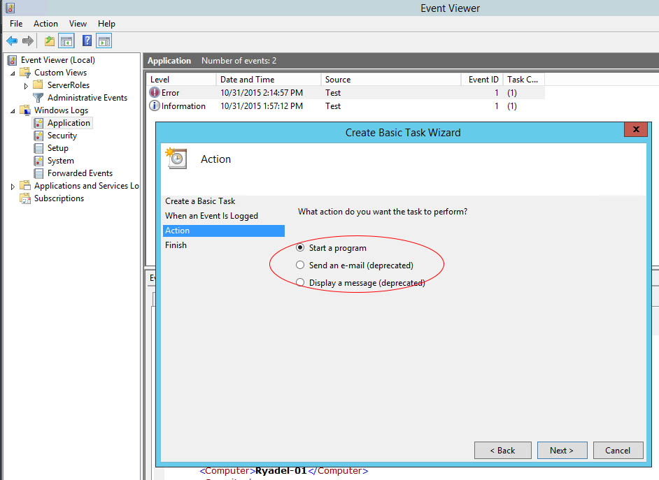 Event Viewer: how to send e-mail notifications with Powershell