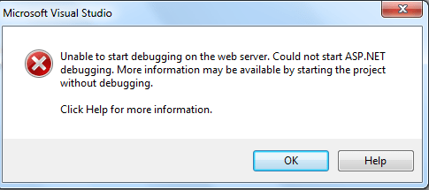 Visual Studio - Unable to start debugging on the web server