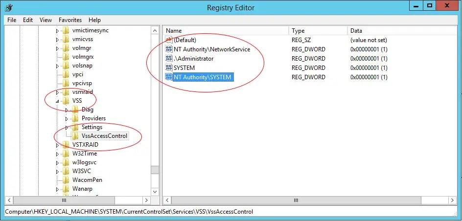 Volume Shadow Copy Service Error 0x80070005