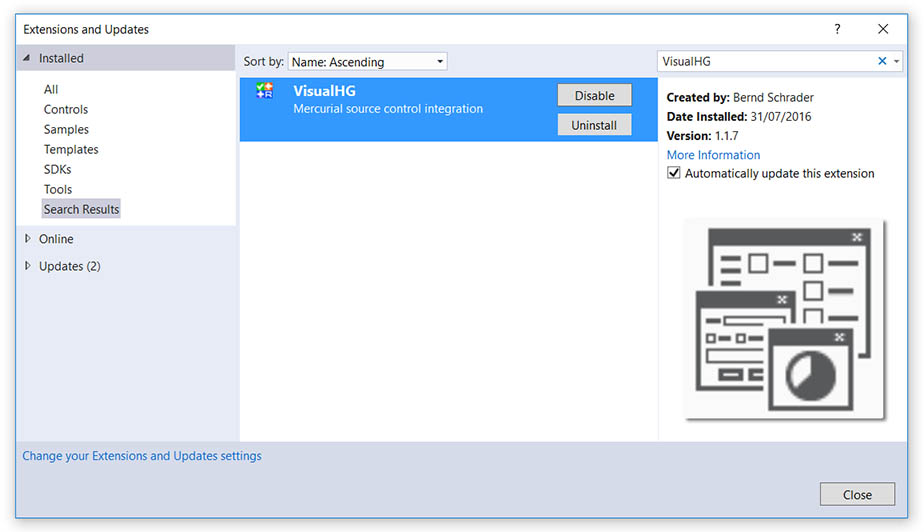 Using Mercurial HG in Visual Studio 2015 with VisualHG or HgSccPackage