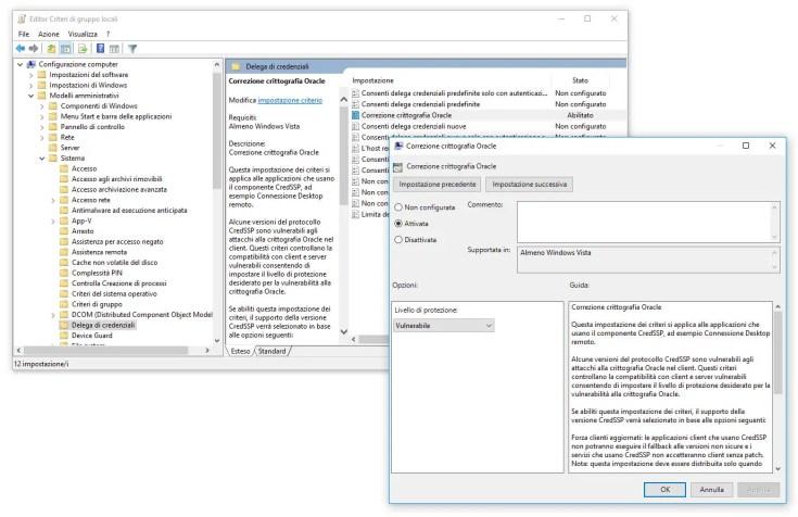 Errore Crittografia Oracle CredSSP su Connessione Desktop Remoto - Come Risolvere