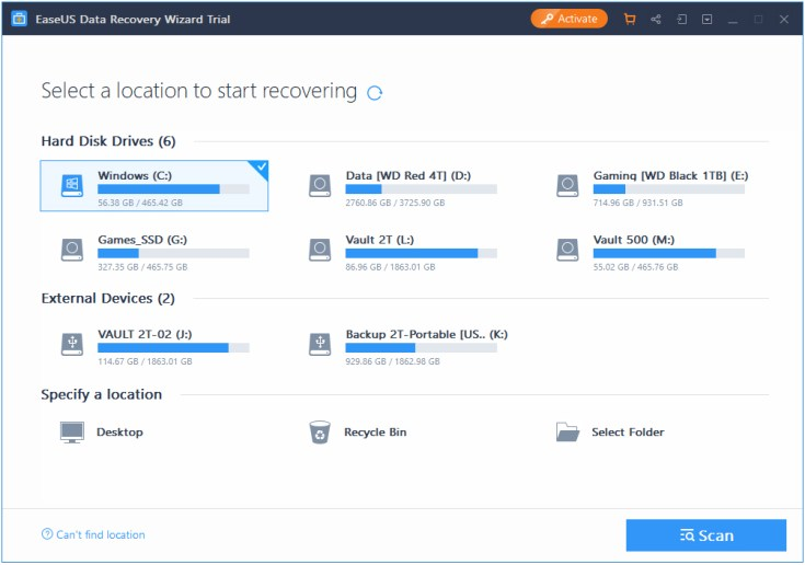 EaseUS Data Recovery Wizard - Recensione