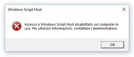 Accesso a Windows Script Host disabilitato sul computer in uso - FIX