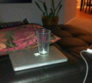 gum wrapper in a glass