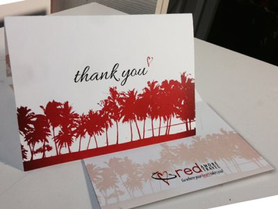 RED Amore Travel Thank you note