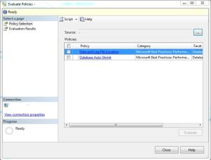 PBM Select Multiple policies dialog