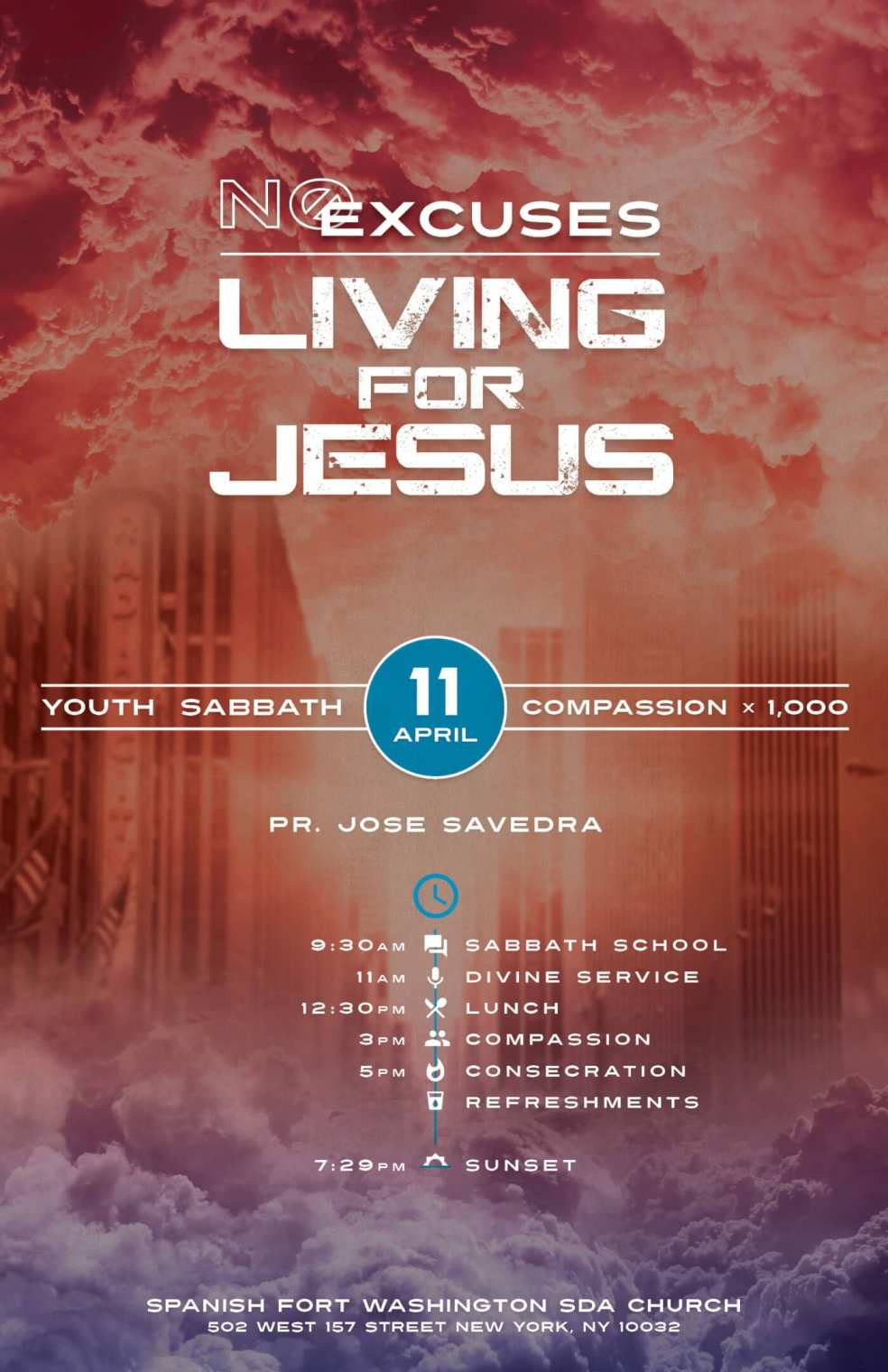 English Poster - No Excuses Living for Jesus