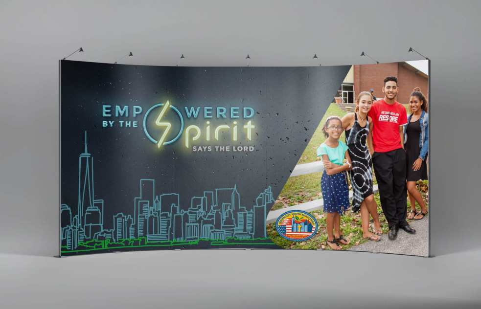 Empowered by the Spirit Curved Stage Backdrop for Adventist Youth Ministries