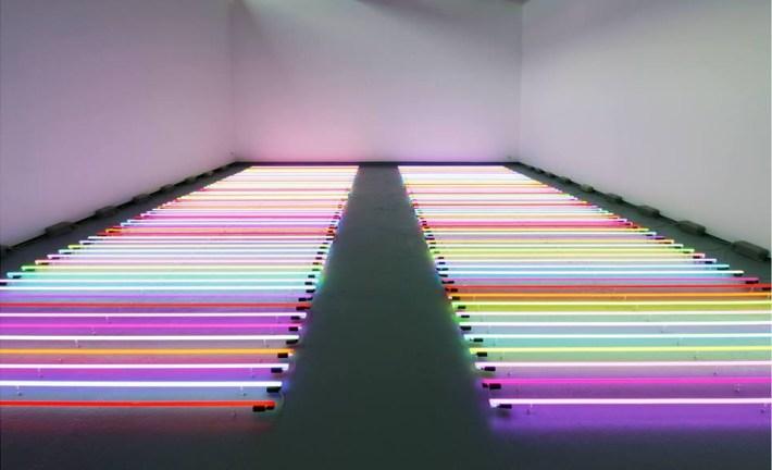 Neon light installation art via Archillect