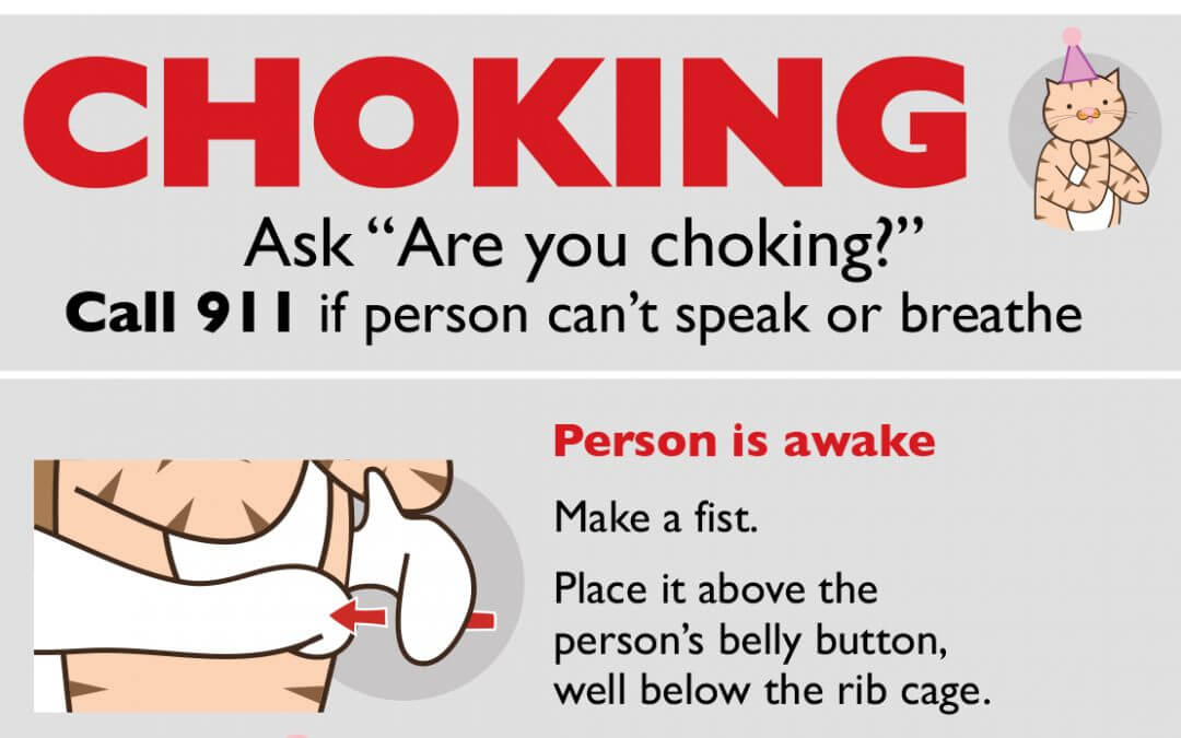 a choking safety poster with mascots