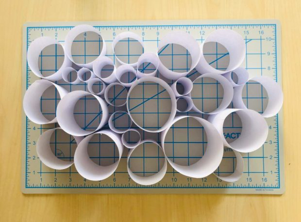 This is an image example of the various individual pieces that I cut out and glued together - they consist of various heights and diameters, this is called Scale and it created variation