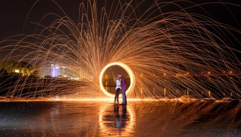 Fun with sparklers and steel wool - Springmaid Beach