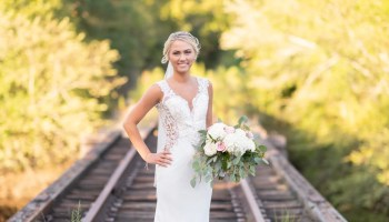 Bride on the train tracks - Conway River Walk