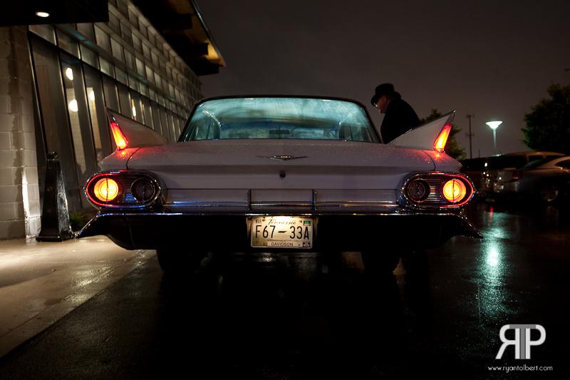 Getaway vehicle is a Cadillac by Nashville Wedding Cars