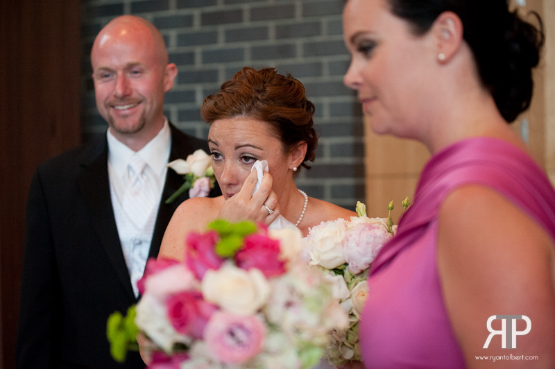 Bride cries after the ceremony