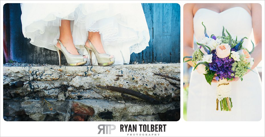 bride with flowers and shoes