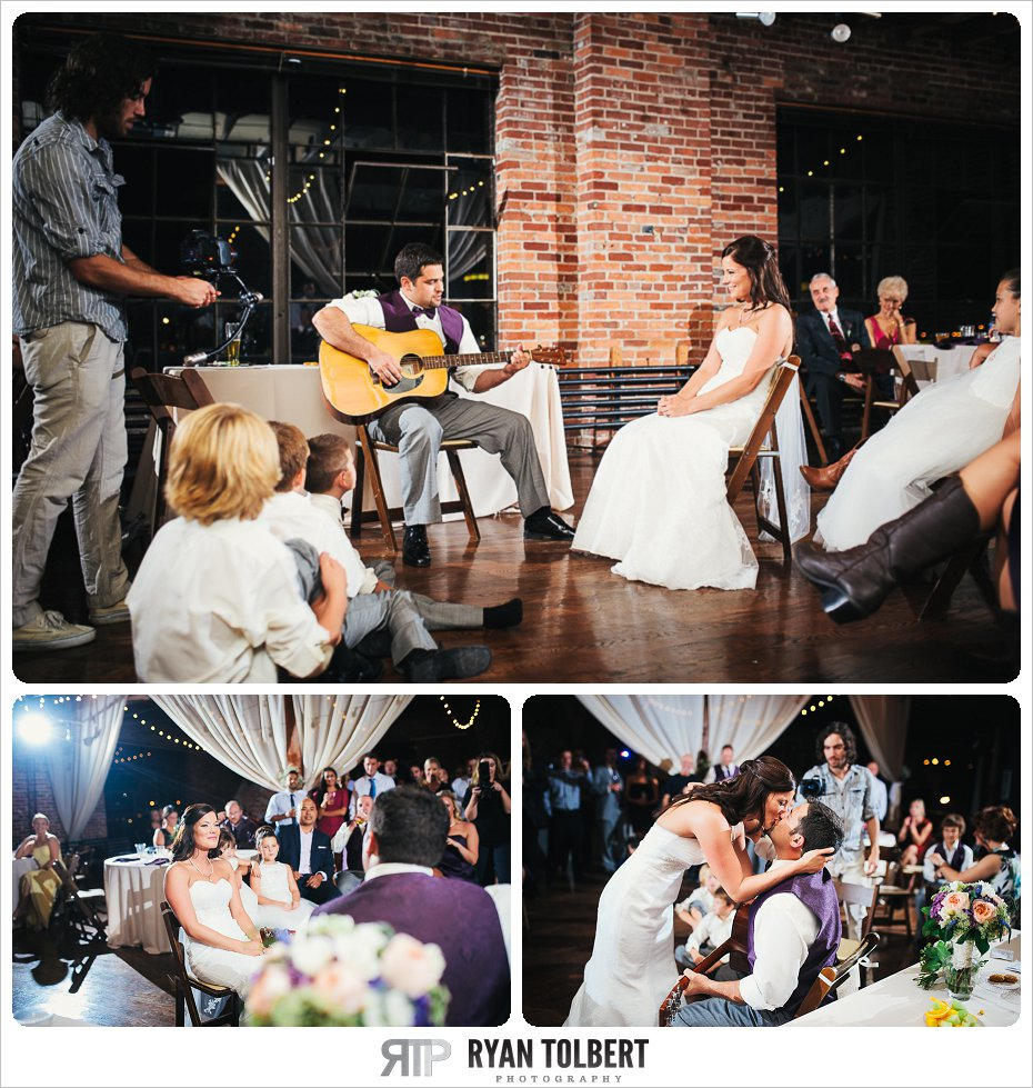 Groom plays guitar for Bride