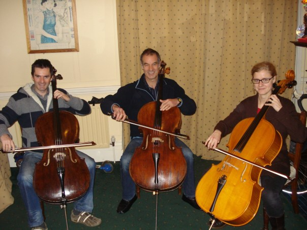 Some of our cellists playing as a trio, having an afternoon off hiking!