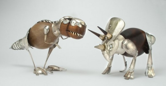 Animal Sculptures from Recycled Materials Reclaimed Art Wood Metal Found Objects Recycle Reclaim Upcycle Trex Triceratops